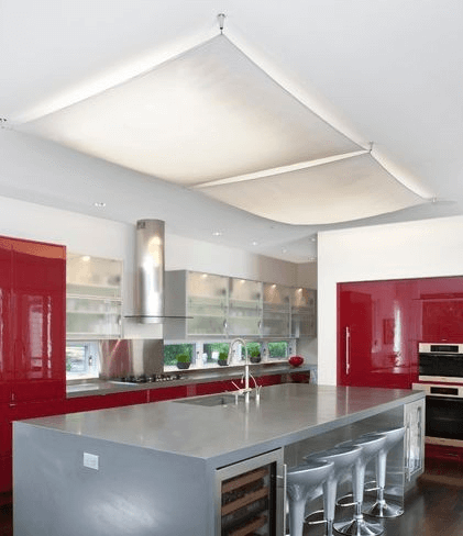 Modern kitchen design with fluorescent lighting covers
