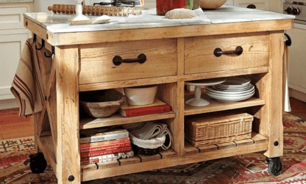 Pottery barn Rustic Kitchen Island on Wheels