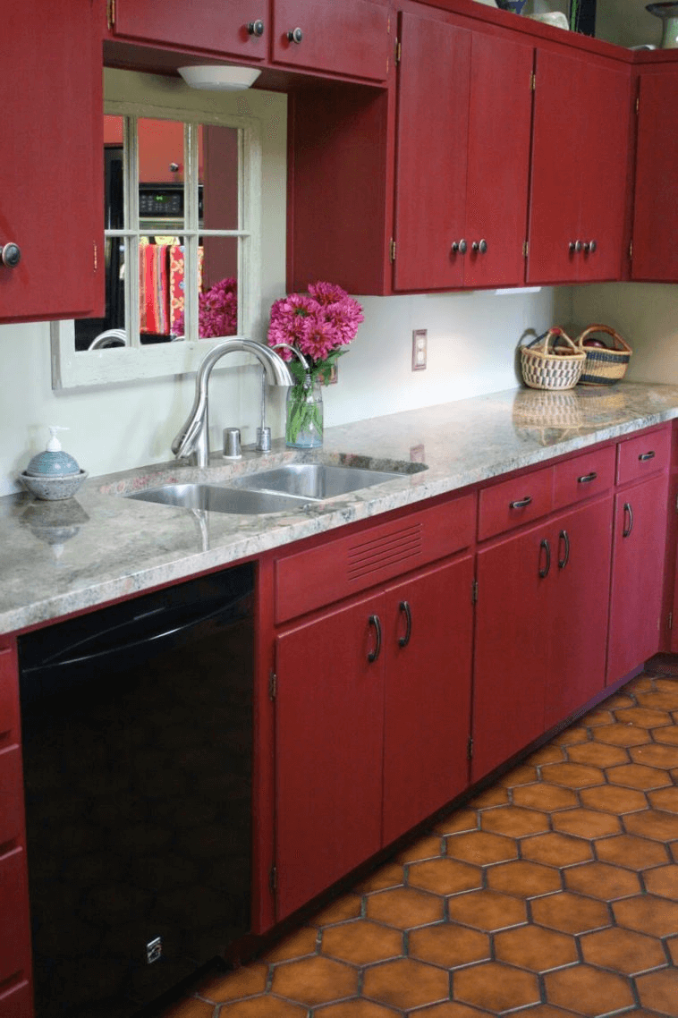 Red kitchen cabinets with chalk paint