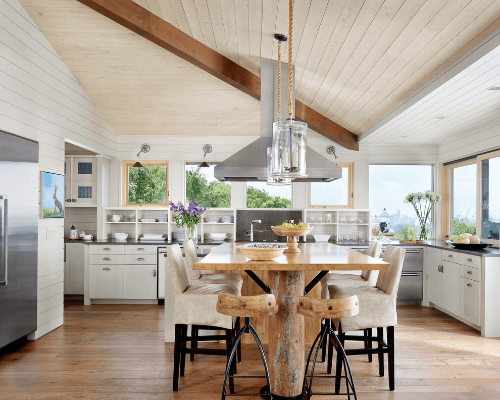 Rustic kitchen island with stools