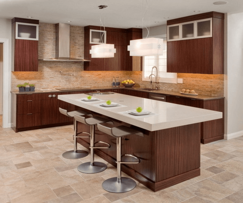 Small Modern Kitchen Island Chairs with brown cabinet