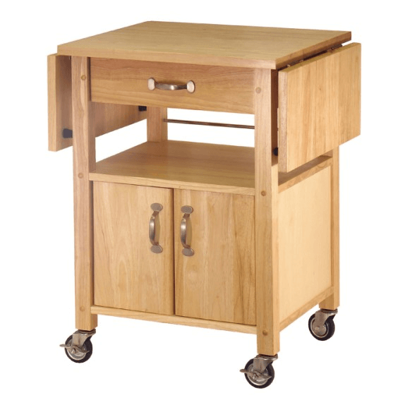 Small natural wooden Kitchen island on wheels with drop leaf and cabinet