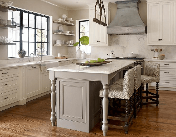 Unique white Kitchen Island Legs and chairs