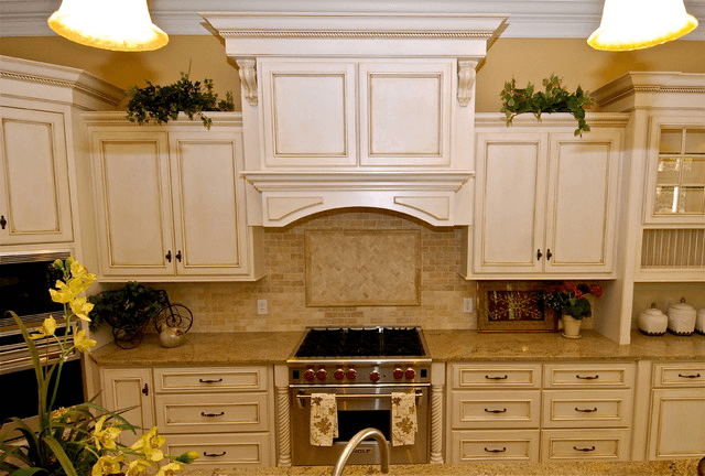 White kitchen cabinet glaze colors design traditional with flower decoration