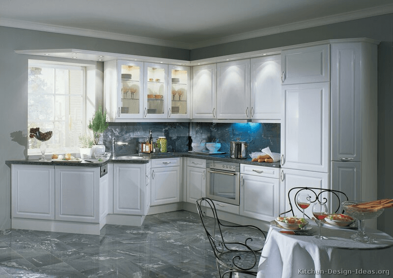 White kitchen cabinets doors glass