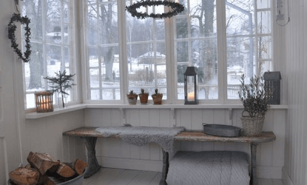 White shelves enclosed porch