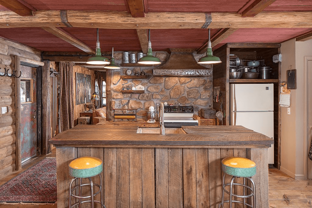 Wooden Kitchen Island Lighting Rustic with bar stools