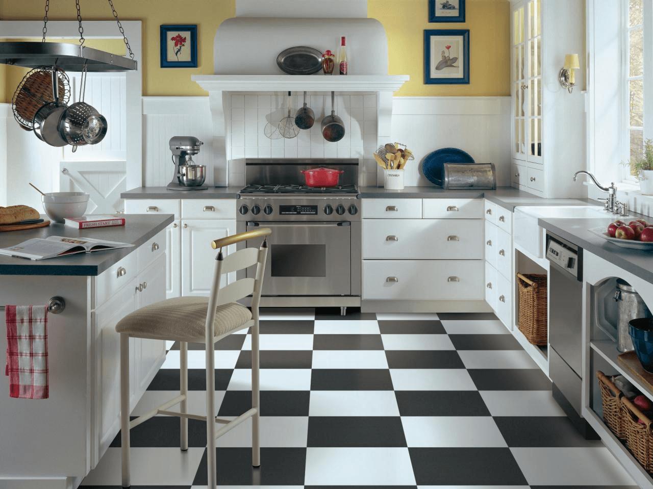 Black and white kitchen vinyl floor tile