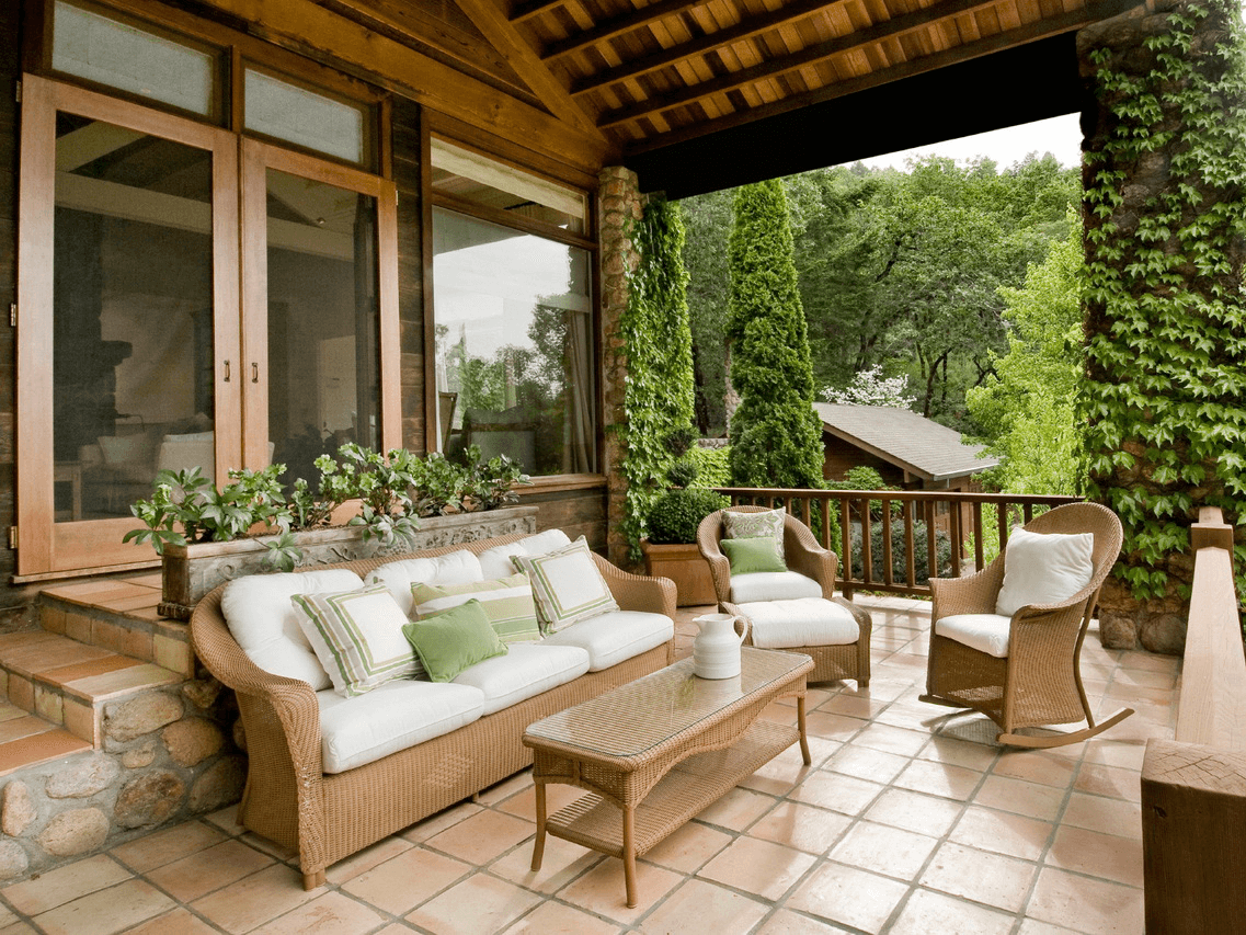 Brown Rattan Front Porch Chairs and Benches