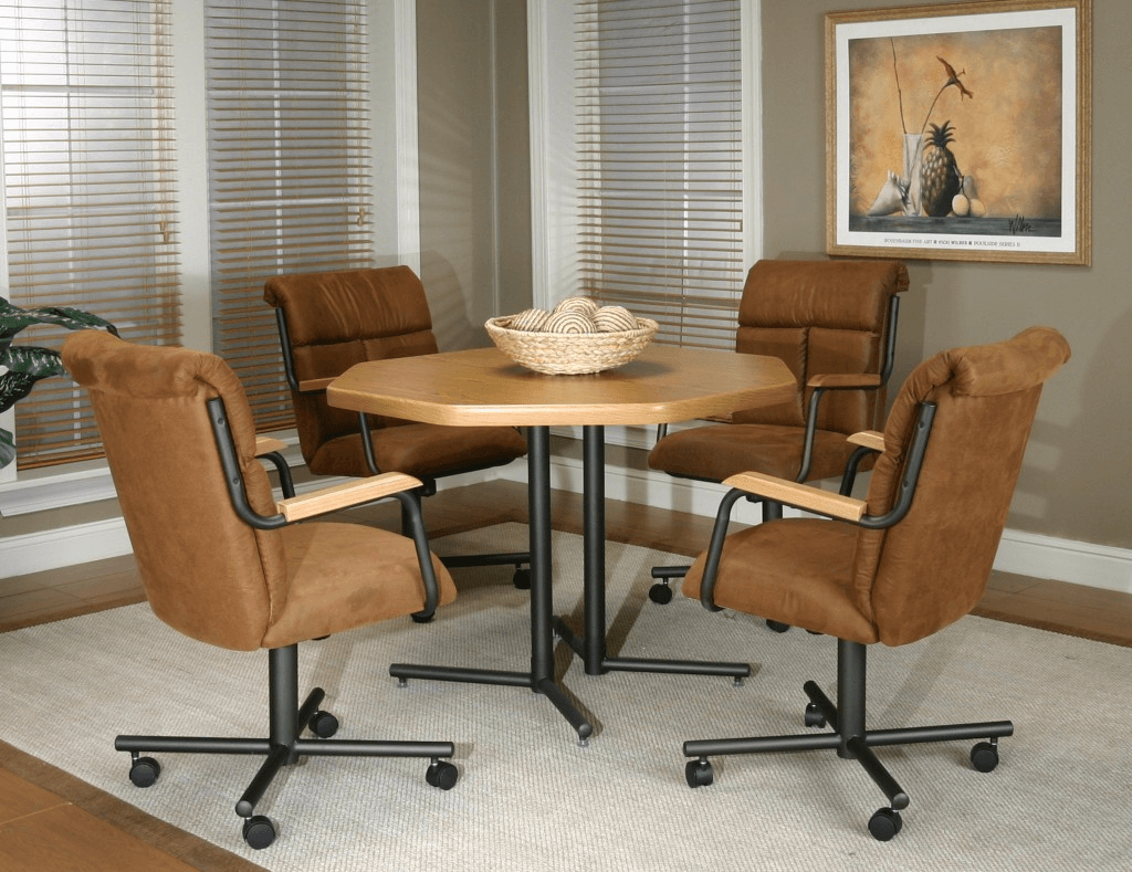 Brown kitchen chairs with rollers for 4 classic design