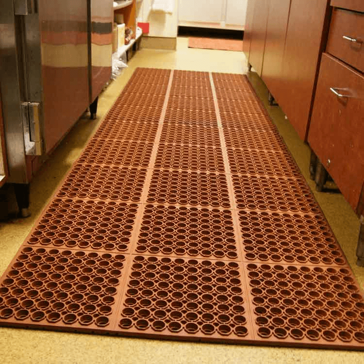 Brown rubber floor mats with holes