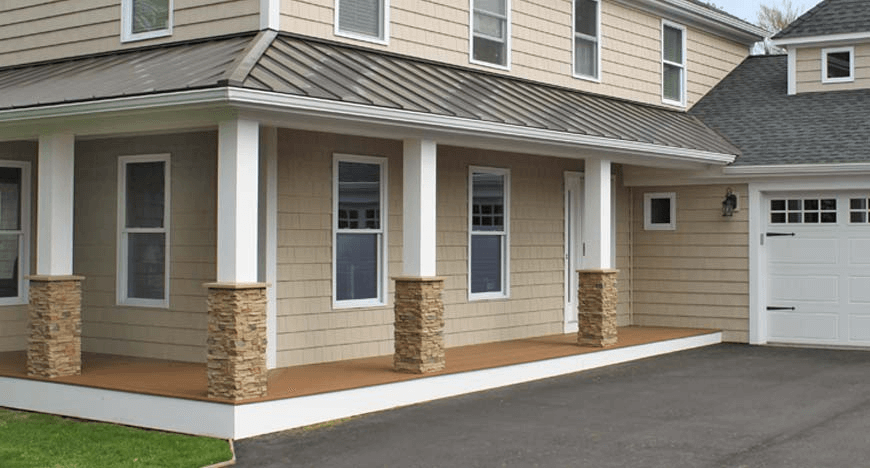 DIY Stone Porch Posts Wraps