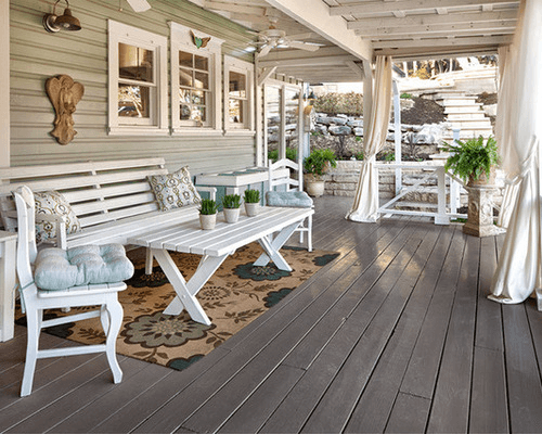 Gray porch floor paint ideas or deck with white chair table sets and screen