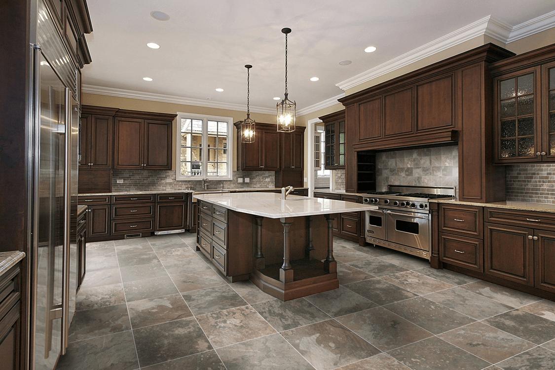 Grey ceramic kitchen floor tiles