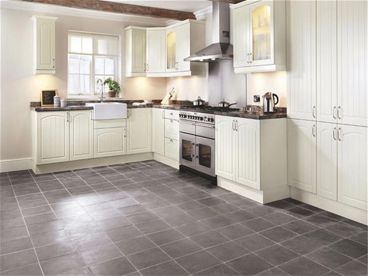 Grey slate porcelain tile kitchen flooring