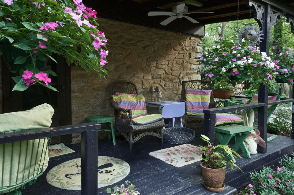 Hanging flower pots from ceiling porch