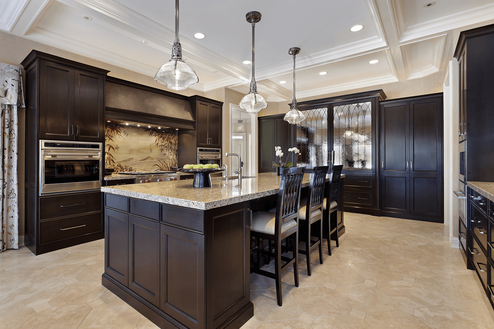 Choices of kitchen floors with white vs dark cabinets for Kitchen cabinets with dark floors
