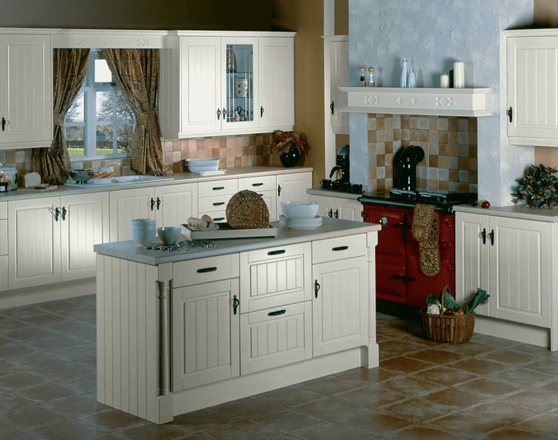 Maple Cabinets With Ivory Kitchen Tile Floor