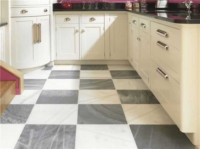 Kitchen floor tile grey and white with cabinet combination