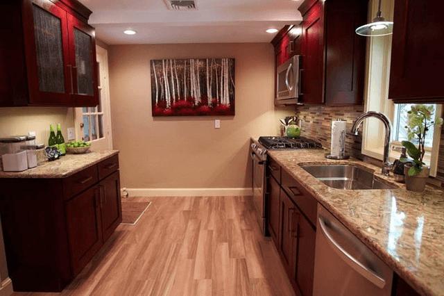 Kitchen with faux hardwood floor tile