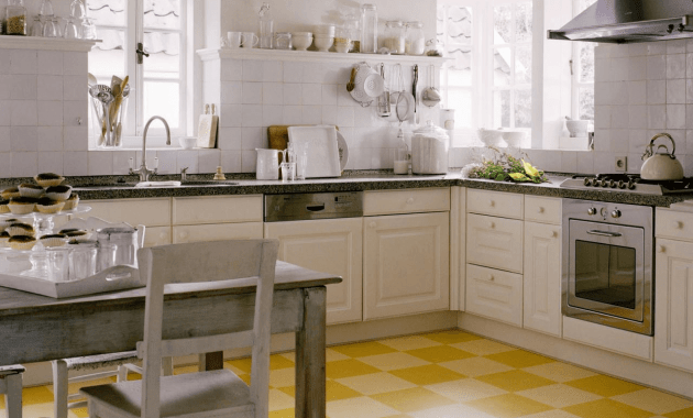Linoleum floor tiles for kitchen