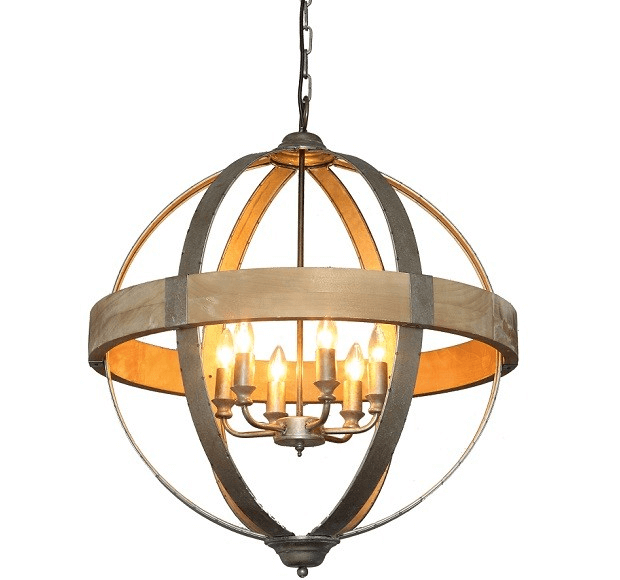 Metal and woode round ball plug in orb chandelier