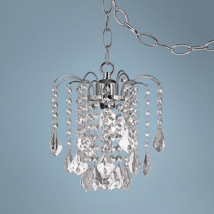 Mini swag plug in crystal chandelier antique