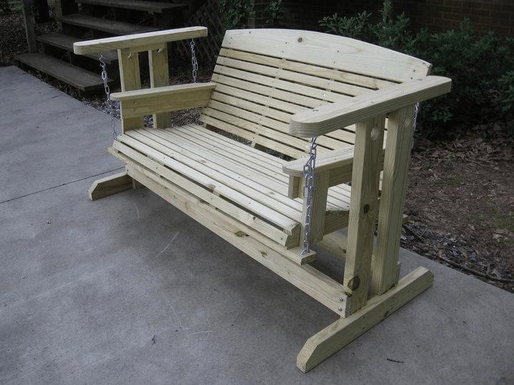 Natural Wooden Porch Swing Glider Frame design ideas