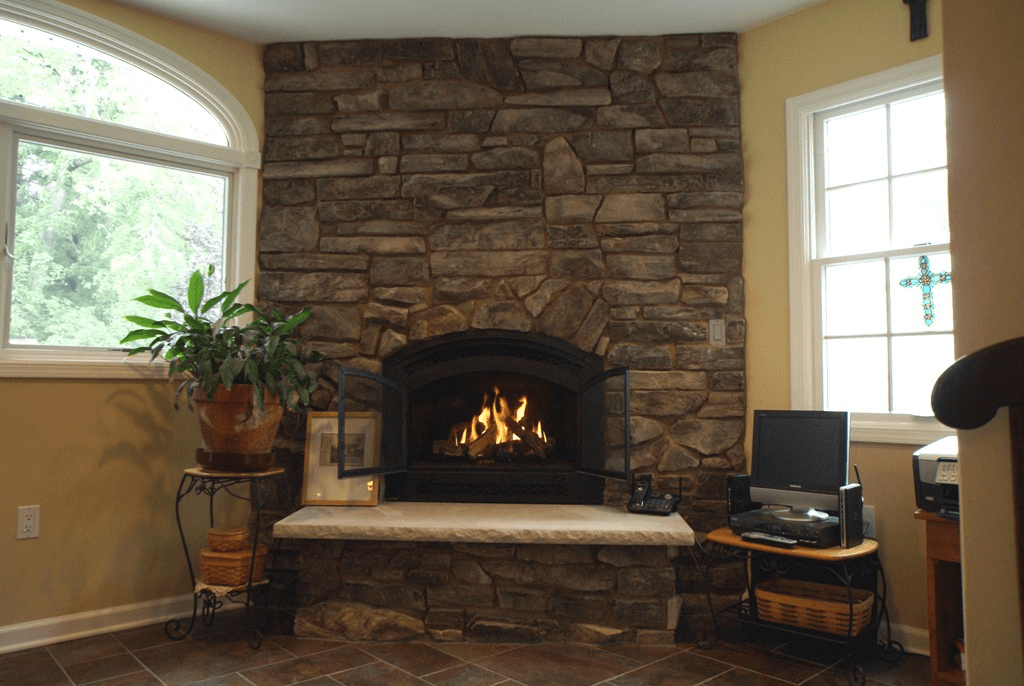 Natural burning fireplace