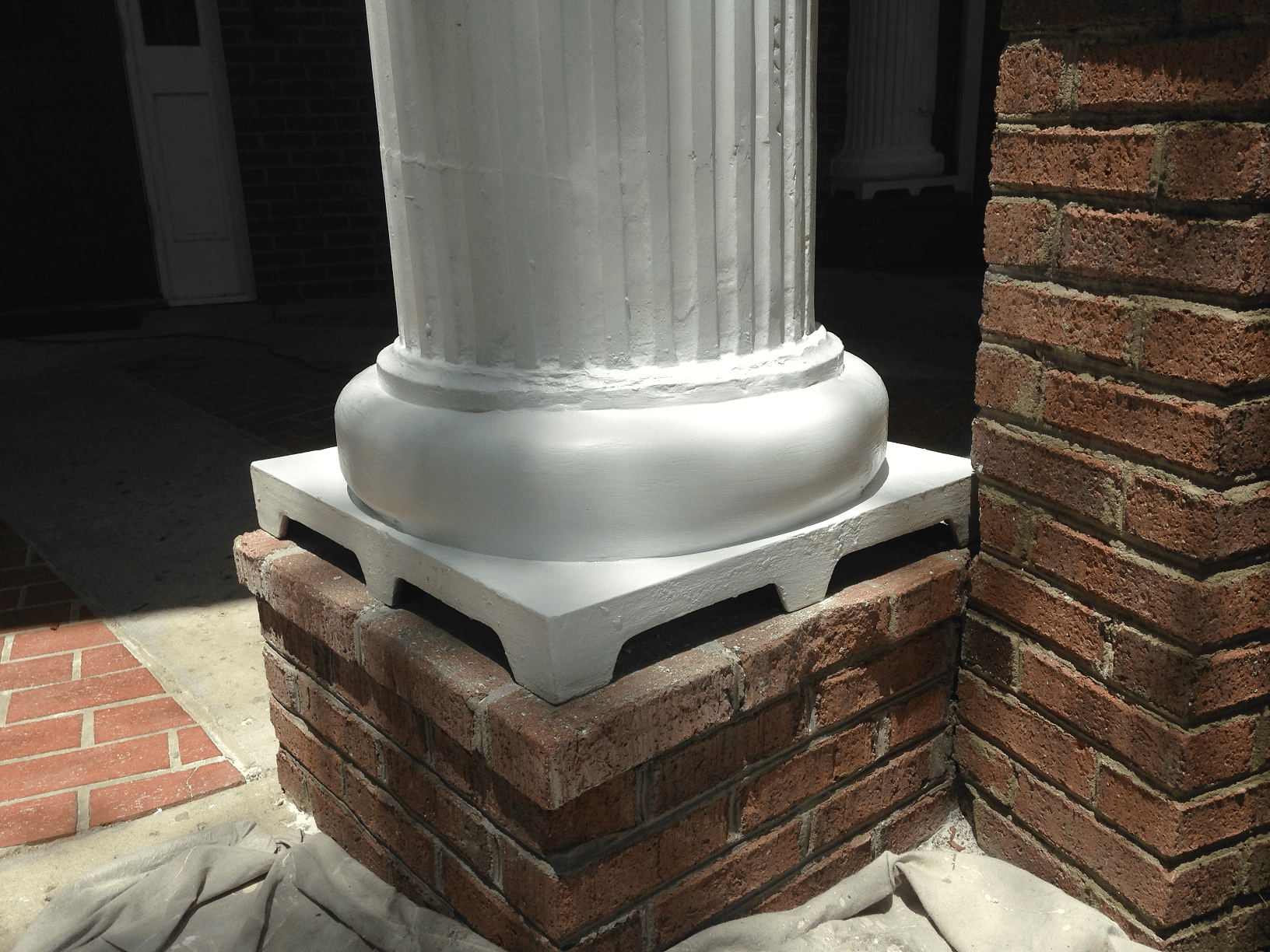 Porch column base rotted repaired