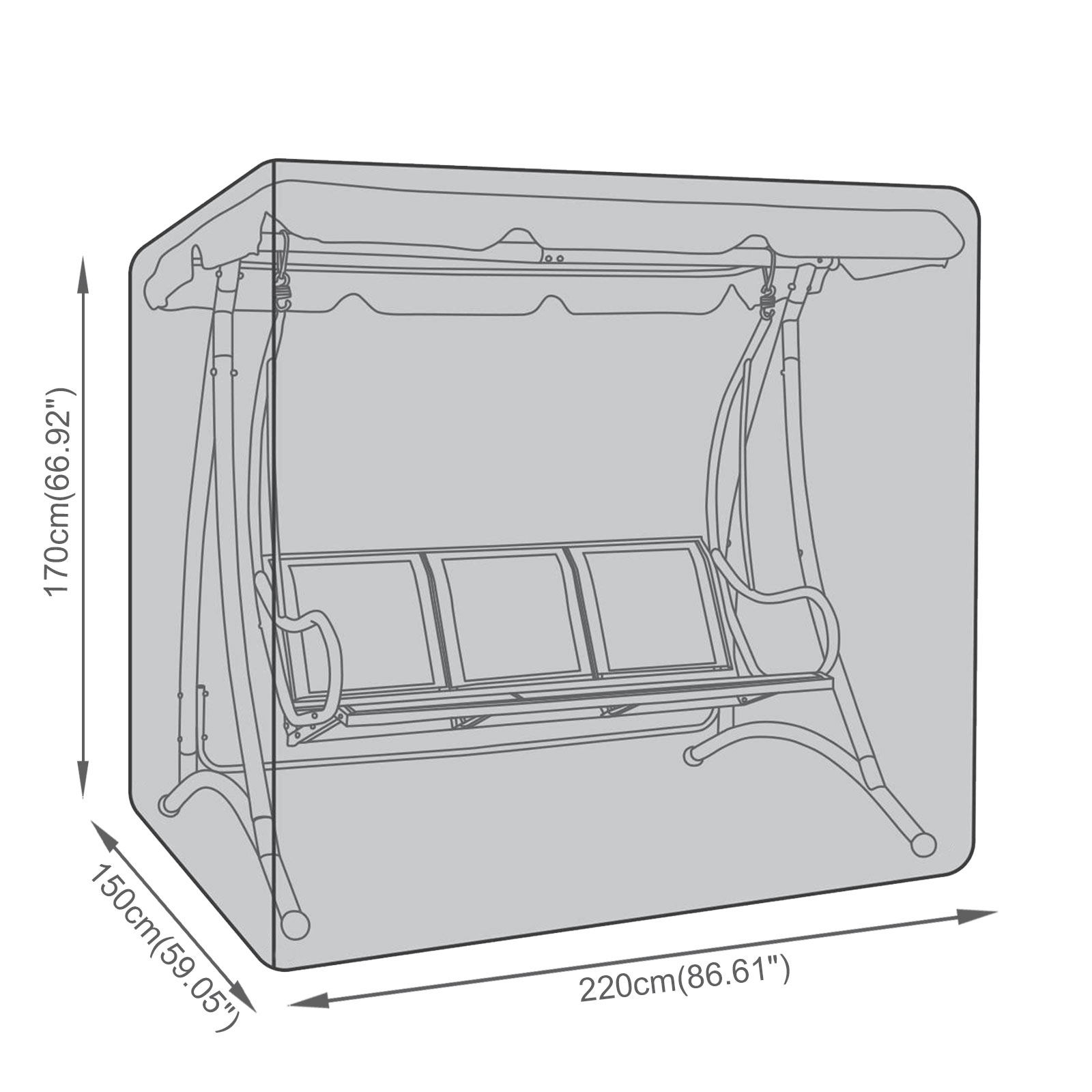 Porch swing cover size