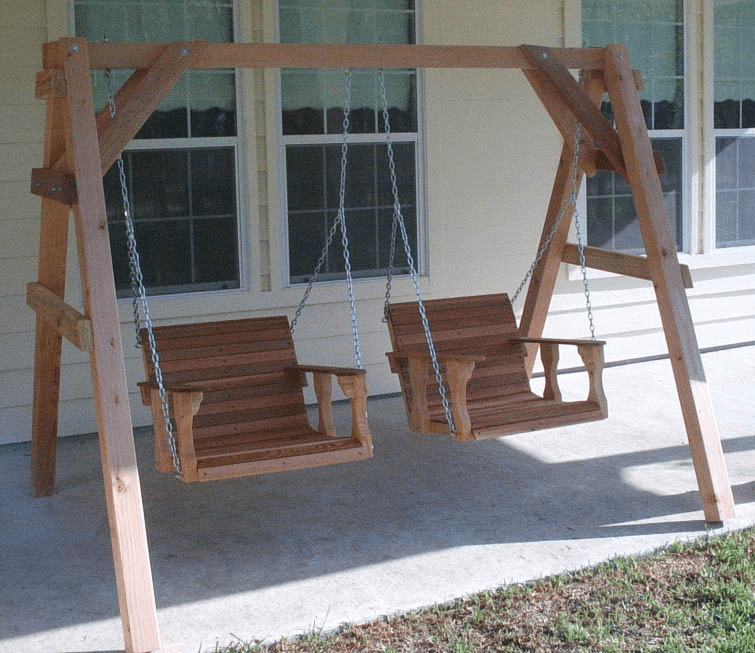 Porch swing frame brackets