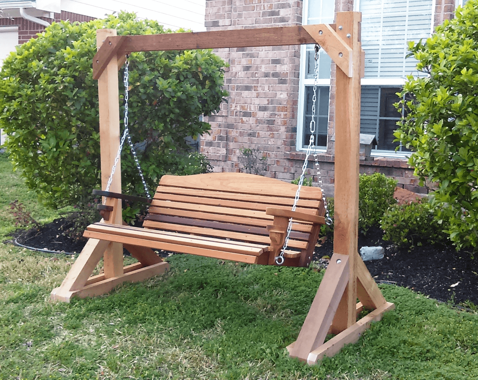 Simple tips to build diy wood porch swing frame plans for Easy porch swing