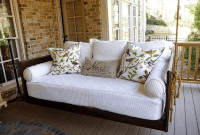 Porch swing with cushions
