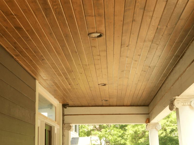 Porch vinyl ceiling panels