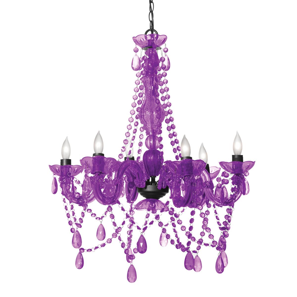 Purple plug in chandelier