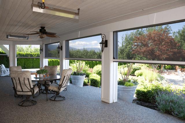 Retractable screens porch under deck