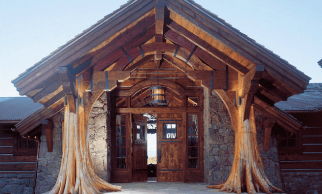 Rustic front porch lights