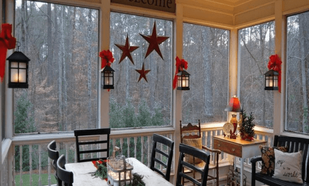 Screened in Porch Decorating Ideas with typography and lanterns
