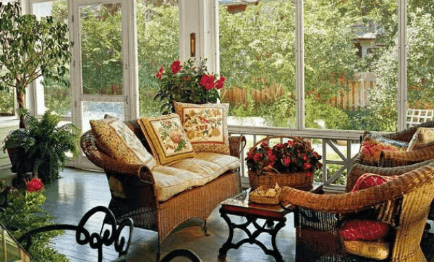 Screened in Porch Decorating ideas with plant and nook