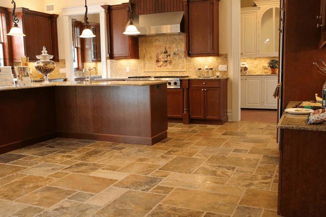 Travertine floor tiles for kitchen