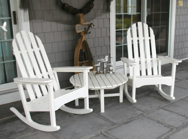 White artistic chairs for front porch comfortable with table set