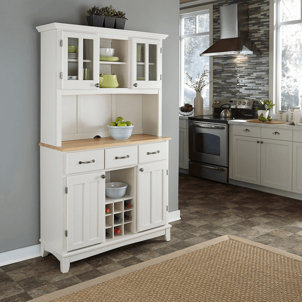 White small kitchen hutch buffet with wood top opening decoration