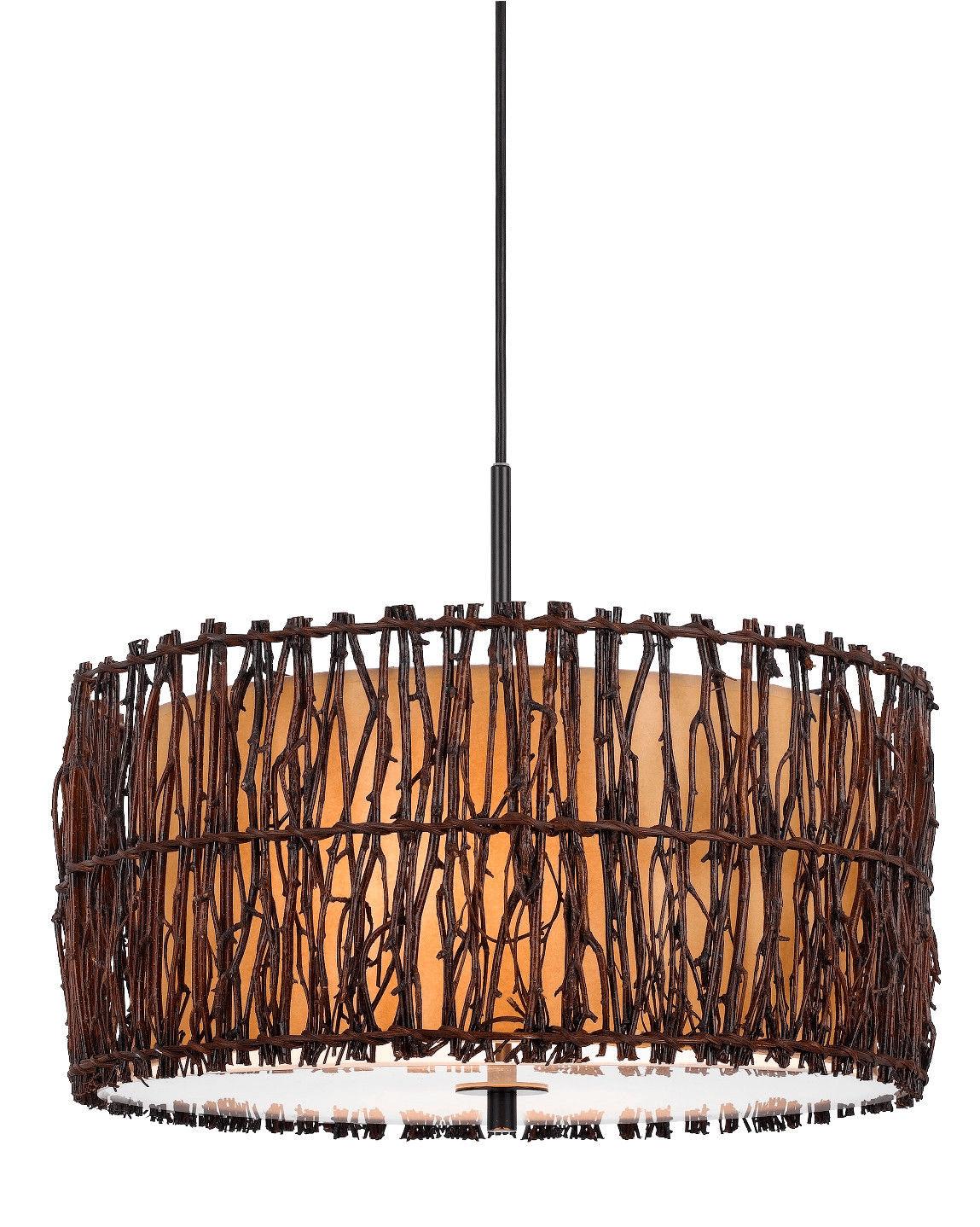 Wooden pendant light plug in drum chandelier fixture