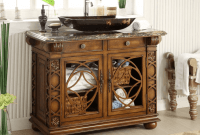 Antique bathroom vanity with vessel sink