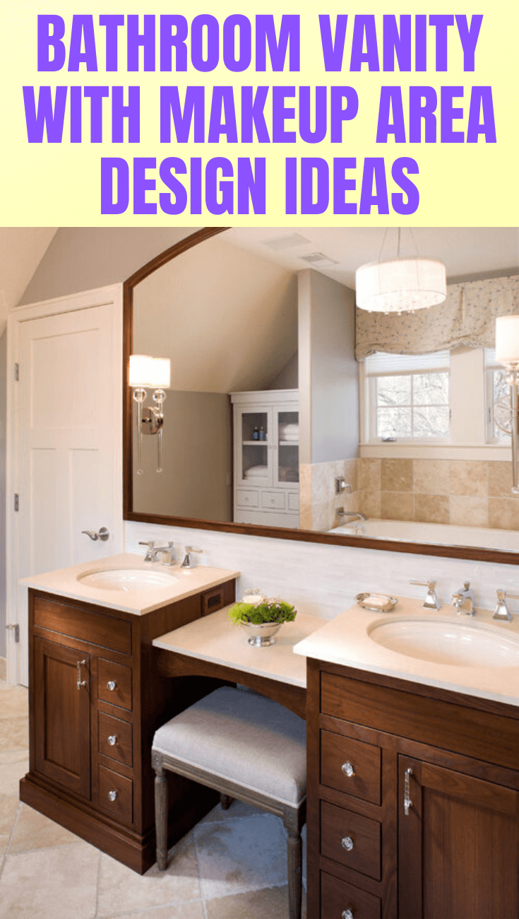 BATHROOM VANITY WITH MAKEUP AREA DESIGN IDEAS