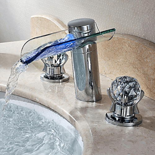 Bathroom faucets with glass knobs