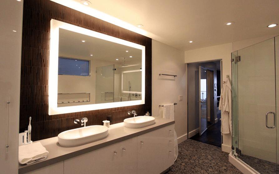 Bathroom vanity mirror with built in lights