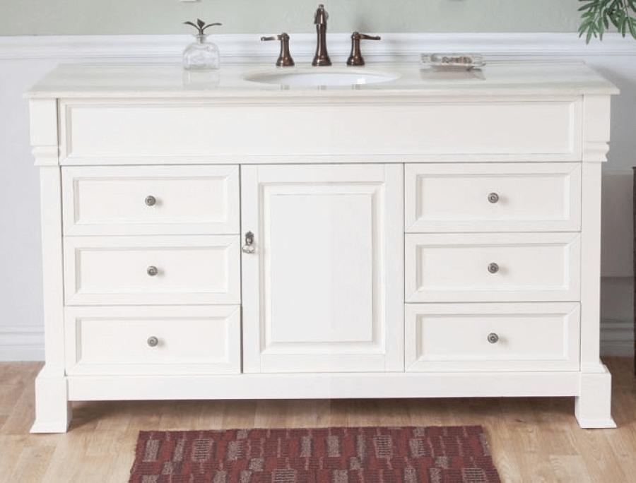 Bathroom vanity white single sink