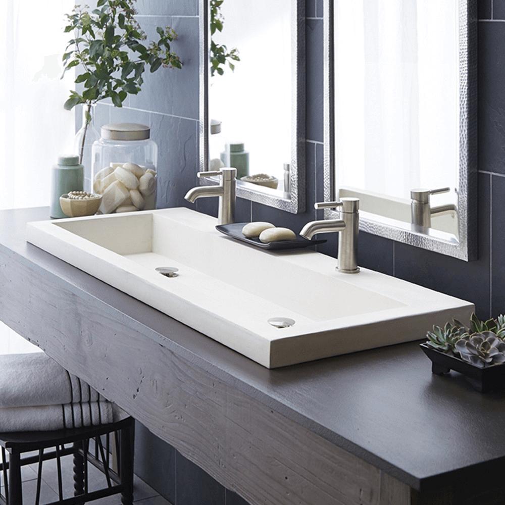 Bathroom vanity with trough sink